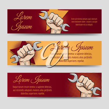 Labor day banners vector set - horizontal banners with working hand and wrench