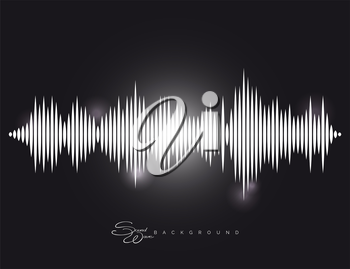 Monochromic sound wave background with shining elements vector illustration