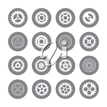 Gears icon set in circles isolated on white background. Vector illustration