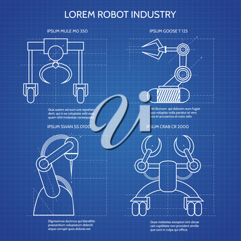 Robot arms blueprint vector illustration. Industrial robotic armed machines