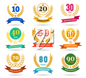 Anniversary numbers design isolated on white background. Year traditional celebration party banners vector illustration