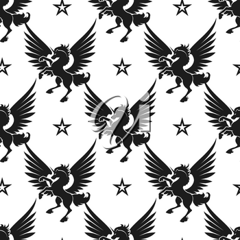 Seamless pattern with black unicorn and stars on white background. Vector illustration