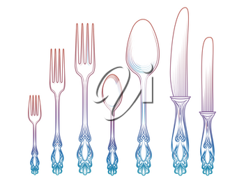 Colorful cutlery collection vector illustration - spoon knife and fork isolated on white