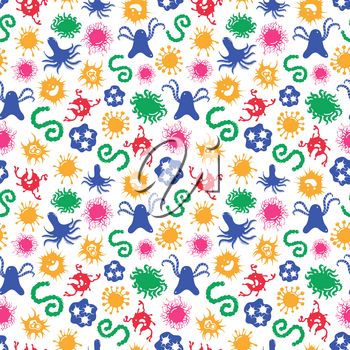 Seamles pattern with colorful microbes and immune bacteries, vector illustration