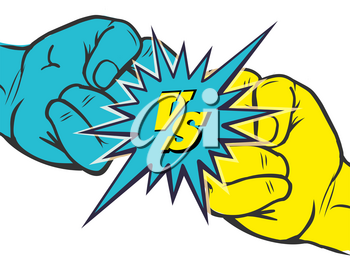 Versus rivalry fist vector illustration. Male hands battle isolated on white background