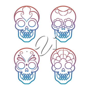 Colorful mexican skulls on white background, vector illustration