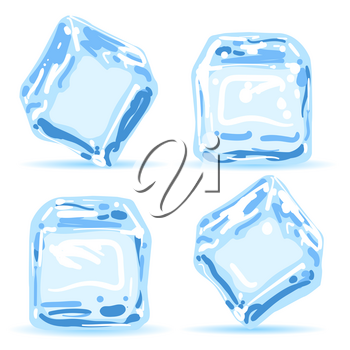 Ice cubes. Blue water melting ice pieces vector illustration