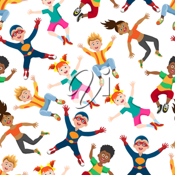 Cute happy kids seamless pattern, energy girls and boys background. Vector illustration