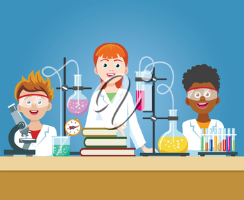 Pupils in chemistry lab. School science class laboratory with kids in safety glasses with microscope vector illustration