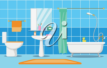 Clean beautiful bathroom interior with shower, bathand and bathroom furniture vector illustration