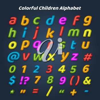 Colorful children alphabet. Cartoon drawing childhood style letters and numbers for kids, vector illustration
