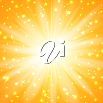Yellow sunburst background with sparkles and rays, vector illustration
