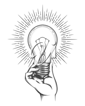 Hand holding light bulb. Business idea concept in hand drawn vintage style vector illustration