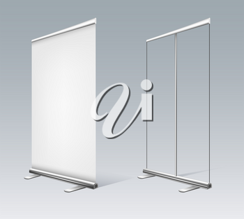 White rollups banner. Empty pullup with open canvas and closed roll ups banners for commercial exhibition or advertisement promotion stands isolated on background, vector illustration