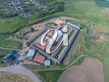Brick production plant. Top view of a small factory for firing bricks.