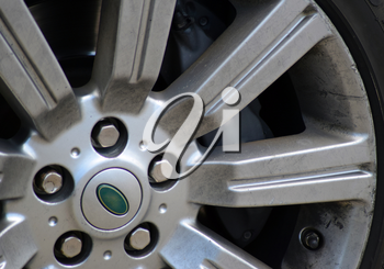 car wheel close. Alloy wheels and tires.