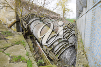 Outlet pipes of a water pumping station. Pipes of large diameter.