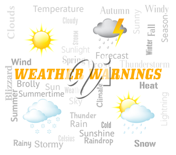Weather Warnings Showing Meteorological Conditions And Caution