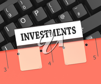 Investments File Showing Stock Investing 3d Rendering