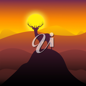 Mountain Deer Representing Wilderness Buck And Hunting