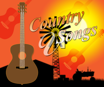 Country Songs Showing Folk Music And Singing