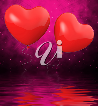 Heart Balloons Displaying Mutual Attraction Love And Affection