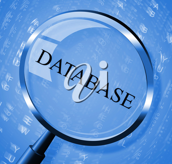 Database Magnifier Indicating Info Information And Byte