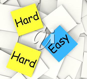 Easy Hard Post-It Notes Meaning Ease Or Difficulty