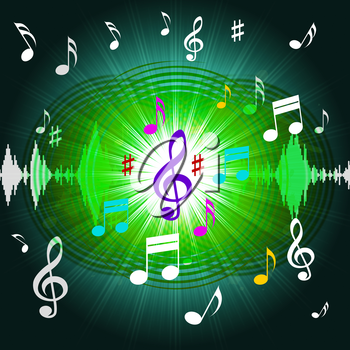 Green Music Background Showing Shining Discs And Classical