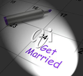 Get Married Calendar Displaying Wedding Day And Vows