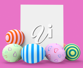 Easter Eggs Indicating Blank Space And Tag