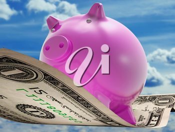 Dollars Note Pig Showing Prosperity And Investment