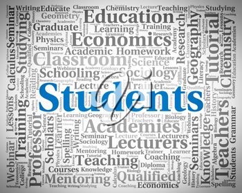 Students Word Showing Study Learning And Studying