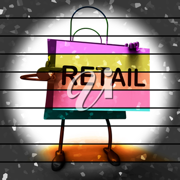 Retail Shopping Bag Showing Consumer Selling Or Sales