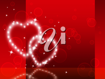 Red Hearts Background Showing Fondness Special And Sparkling