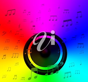 Speaker And Musical Notes Showing Music Disco Or Concert