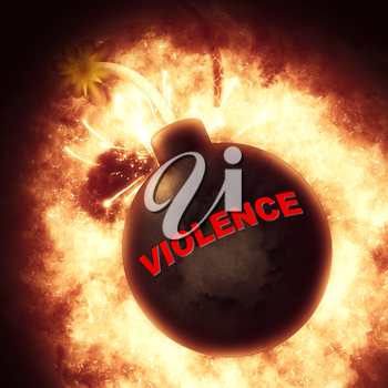 Violence Bomb Indicating Brute Force And Savagery