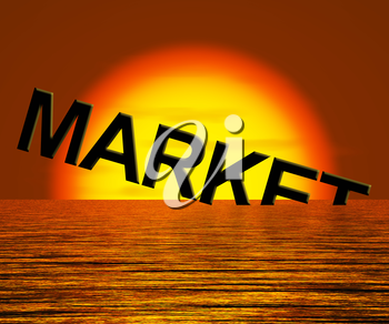 Market Word Sinking Showing A Depressed Economy Or Business Recession