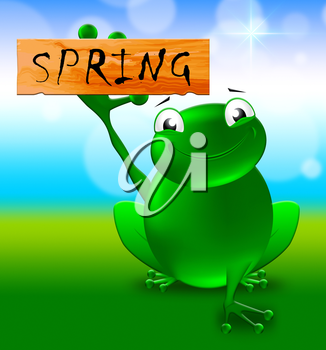 Frog With Spring Sign Shows Natural Environment 3d Illustration