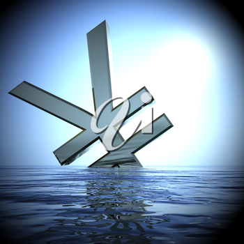 Yen Sinking In The Sea  Showing Depression Recession And Downturns 3d Rendering