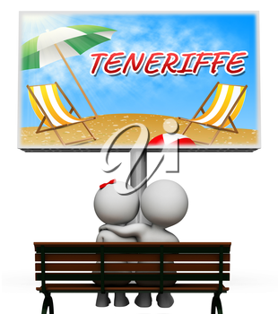 Teneriffe Vacations Sign Showing Summer Time And Getaway 3d Illustration