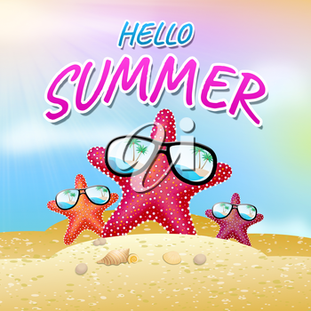 Hello Summer Beach Starfish Meaning How Are You 3d Illustration
