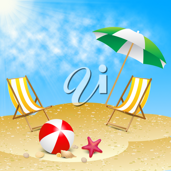Beautiful Beach Deck Chairs Showing Summer Sea 3d Illustration