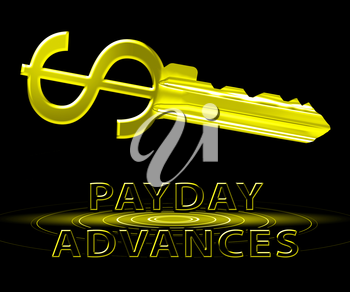 Payday Advances Dollar Key Means Cash Loan 3d Illustration