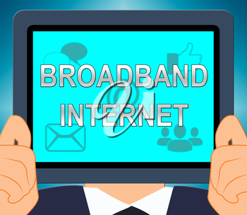 Broadband  Internet Showing Fast Speed 3d Illustration