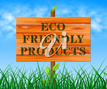 Eco Friendly Products Sign Means Green Goods 3d Illustration