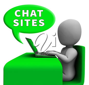 Chat Sites Man With Laptop Meaning Discussion 3d Illustration