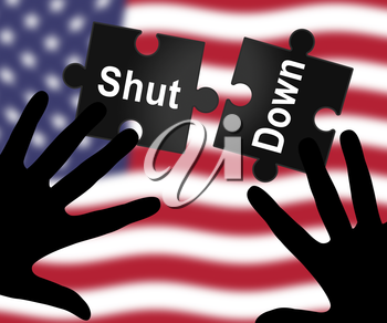 Usa Shutdown Political Jigsaw Government Shut Down Means National Furlough. Senate And President In Washington DC Create Closure
