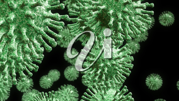 China corona virus outbreak under microscope shows covid 19 cells. Ncov prevention using vaccine and quarantine to prevent sickness - 3d animation