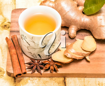 Refreshing Ginger Tea Indicating Cup Refreshed And Organic